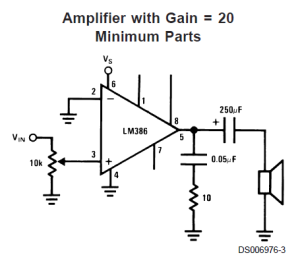 LM386 amplifier with minimum parts